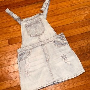 Distressed Demin Overall Dress